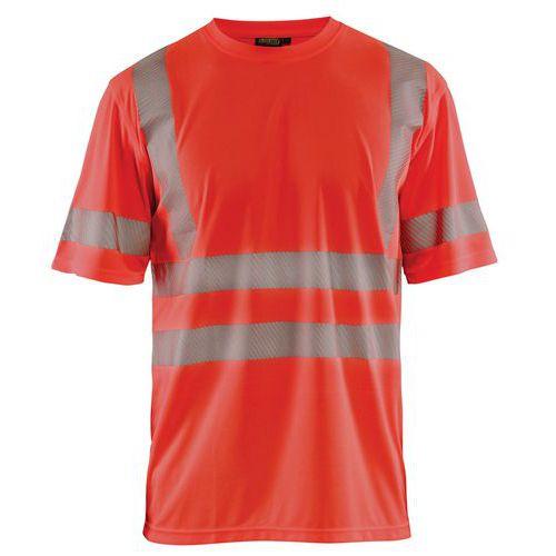 T-shirt anti-UV haute visibilité rouge fluorescent, col rond