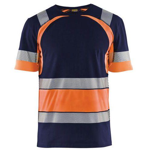 T-shirt haute visibilité marine/orange fluorescent
