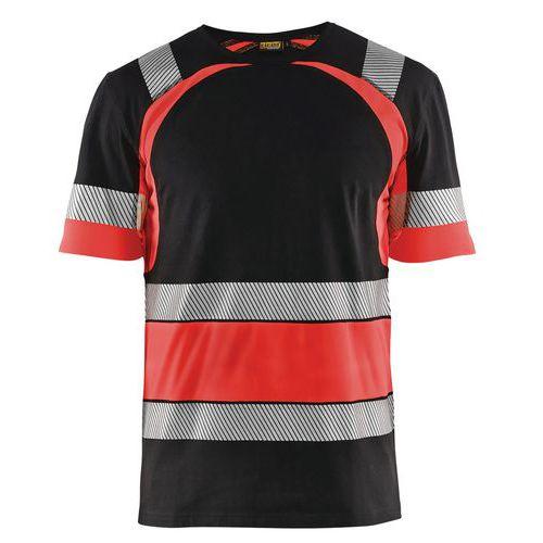 T-shirt haute visibilité noir/rouge fluorescent