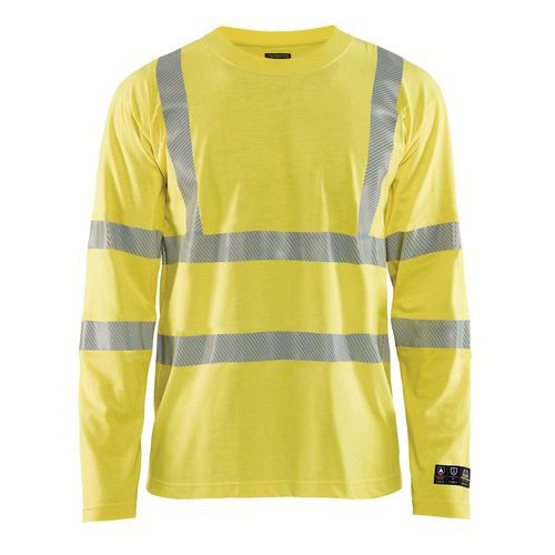 T-shirt manches longues multinormes inhérent jaune fluorescent