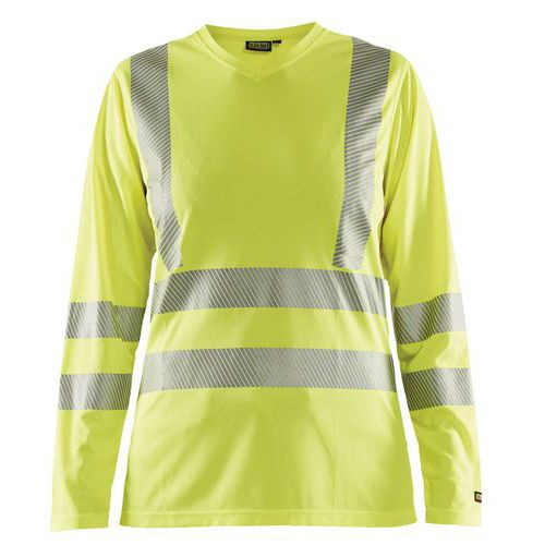 T-shirt haute visibilité manches longues femme jaune fluorescent