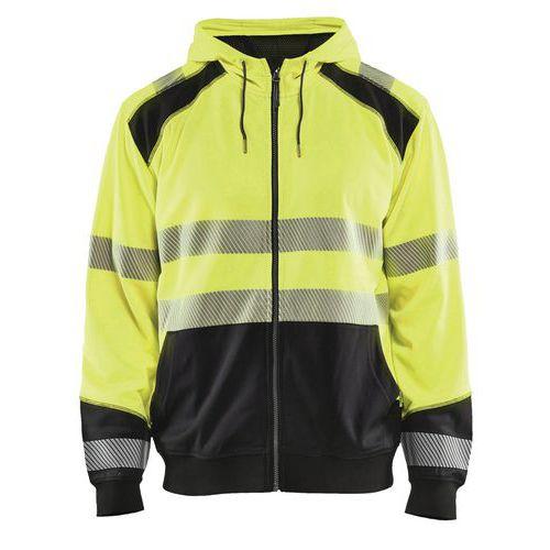 Sweat zippé à capuche haute visibilité jaune fluorescent/noir