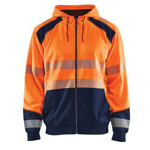 Sweat zippé à capuche haute visibilité orange fluorescent/marine
