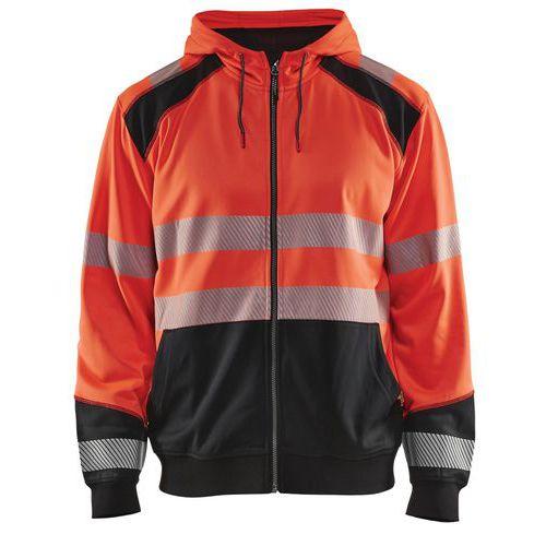 Sweat zippé à capuche haute visibilité rouge fluorescent/noir