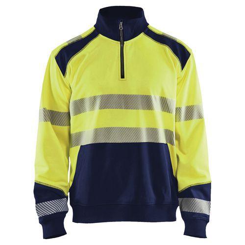 Sweat col camionneur haute visibilité jaune fluorescent/marine