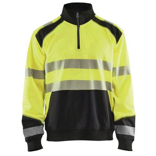 Sweat col camionneur haute visibilité jaune fluorescent/noir