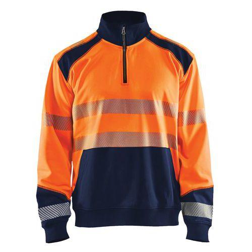 Sweat col camionneur haute visibilité orange fluorescent/marine