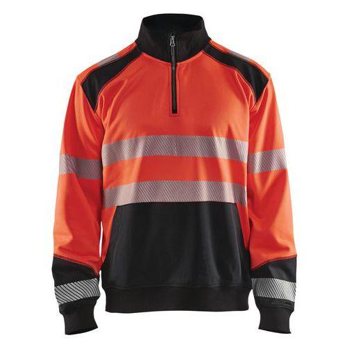Sweat col camionneur haute visibilité rouge fluorescent/noir
