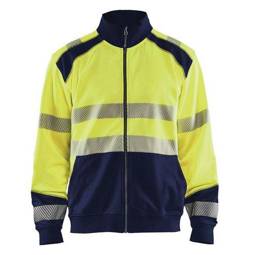 Sweat zippé haute visibilité jaune fluorescent/marine