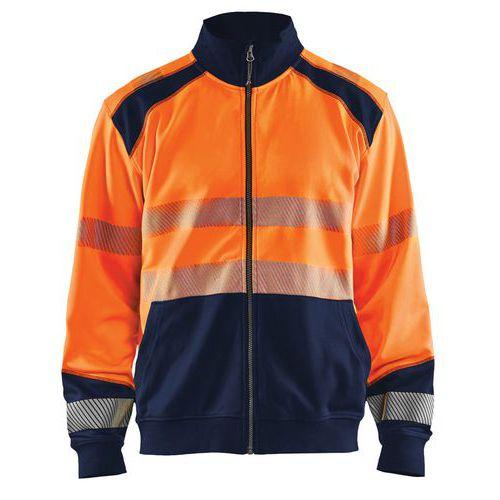 Sweat zippé haute visibilité orange fluorescent/marine