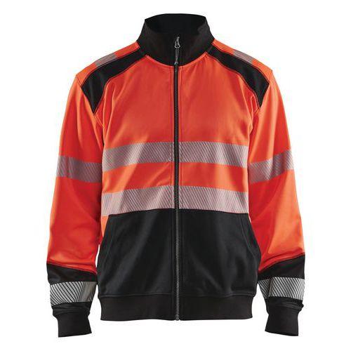 Sweat zippé haute visibilité rouge fluorescent/noir