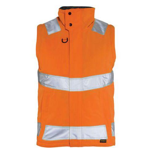 Gilet haute visibilité hydrofuge orange fluorescent