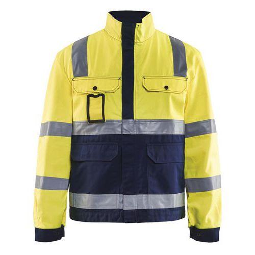 Veste haute visibilité jaune fluorescent/marine avec soufflet