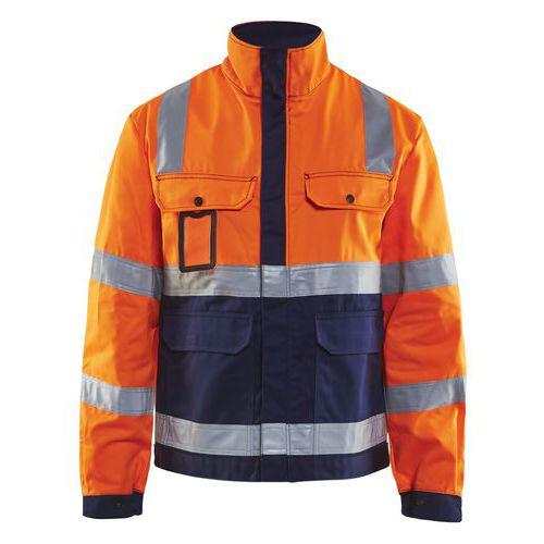 Veste haute visibilité orange fluorescent/marine avec soufflet