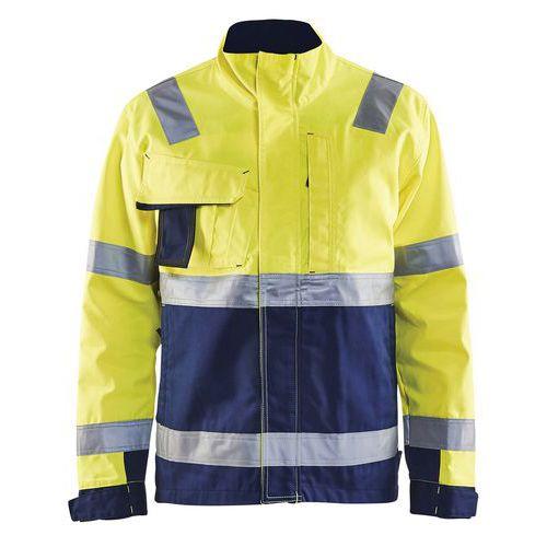 Veste haute visibilité jaune fluorescent/marine col haut