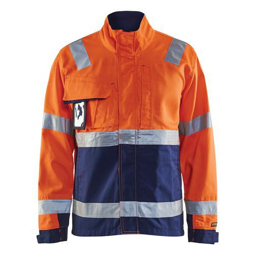 Veste haute visibilité orange fluorescent/marine col haut