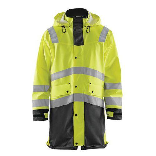 Manteau de pluie haute visibilité niveau 2 jaune fluorescent/noir