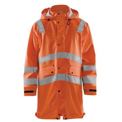 Manteau de pluie haute visibilité niveau 2 orange fluorescent