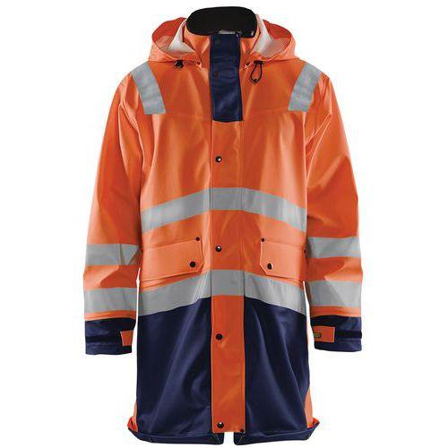 Manteau de pluie haute visibilité niveau 2 orange fluorescent/marine
