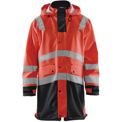 Manteau de pluie haute visibilité niveau 2 rouge fluorescent/noir