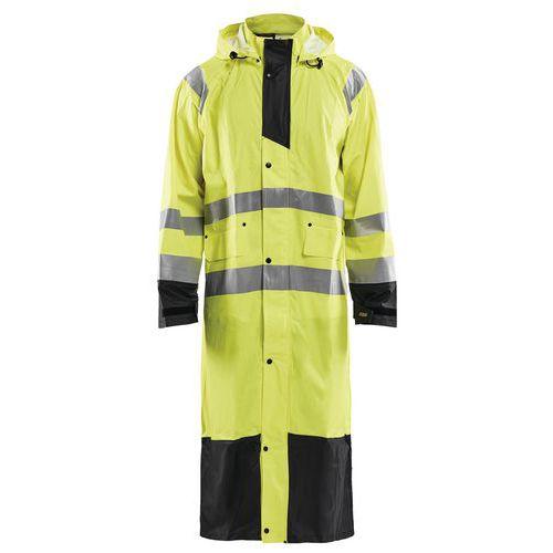 Manteau de pluie haute visibilité niveau 1 jaune fluorescent/noir