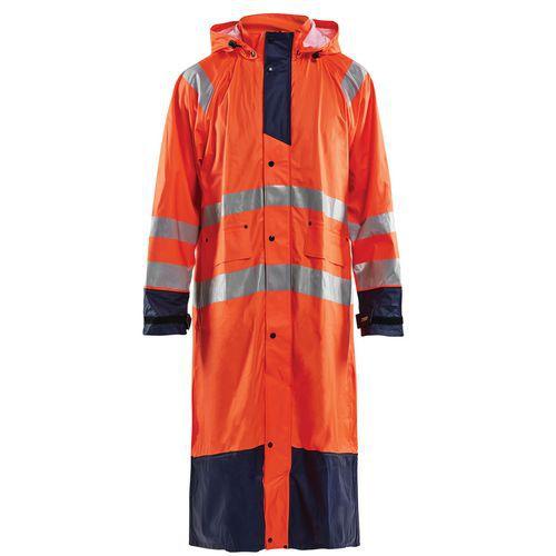 Manteau de pluie haute visibilité niveau 1 orange fluorescent/marine