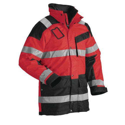 Parka hiver haute visibilité rouge fluorescent/noir