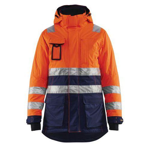 Parka hiver haute visibilité femme orange fluorescent/marine