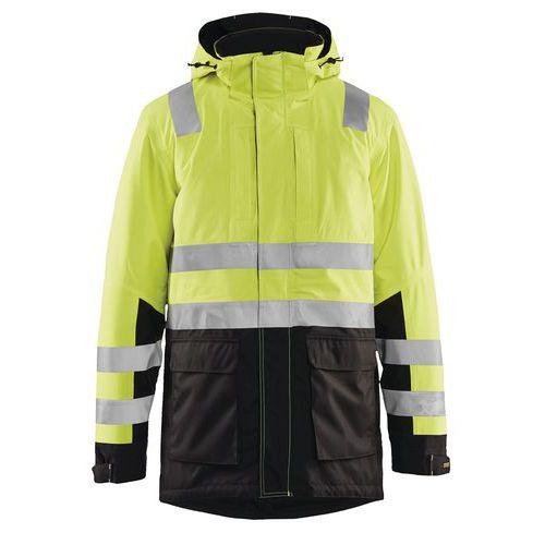 Parka haute visibilité jaune fluorescent/noir