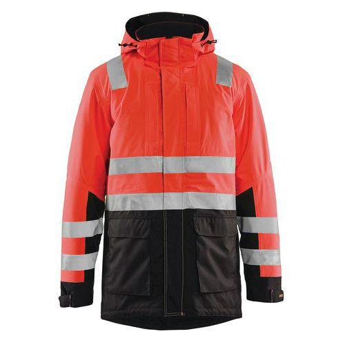 Parka haute visibilité rouge fluorescent/noir