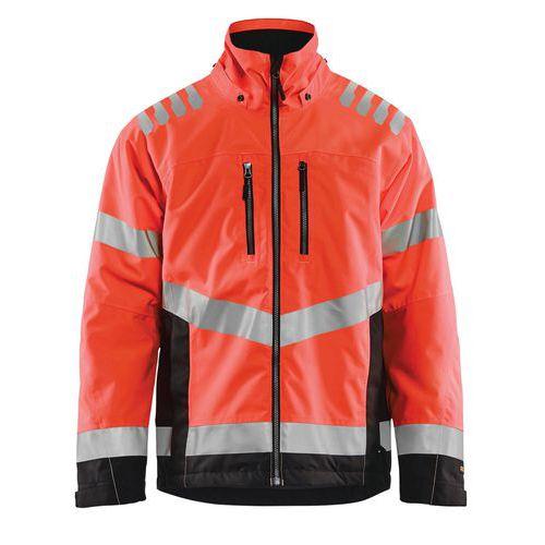 Veste hiver haute visibilité rouge fluorescent/noir, respirant