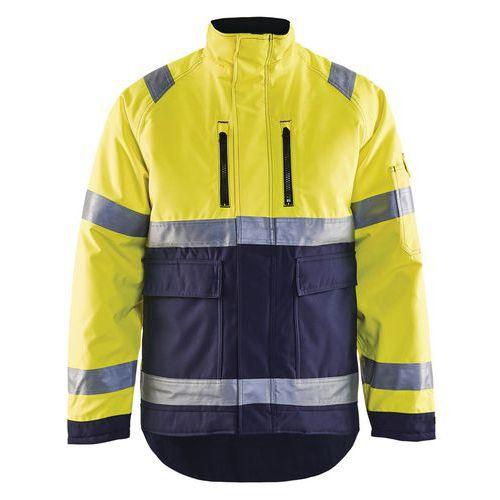 Veste hiver haute visibilité polyester jaune fluo/marine, respirant