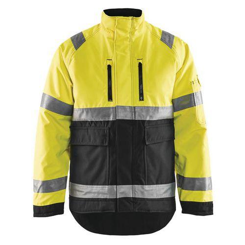 Veste hiver haute visibilité polyester jaune fluo/noir, respirant