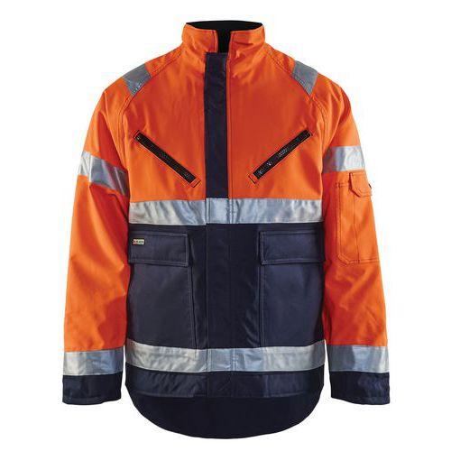 Veste hiver haute visibilité polyester orange fluo/marine, respirant