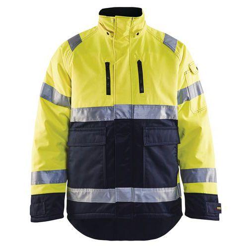 Veste hiver haute visibilité polyester jaune fluo/marine, resistant