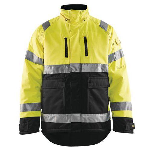 Veste hiver haute visibilité polyester/coton jaune fluorescent/noir