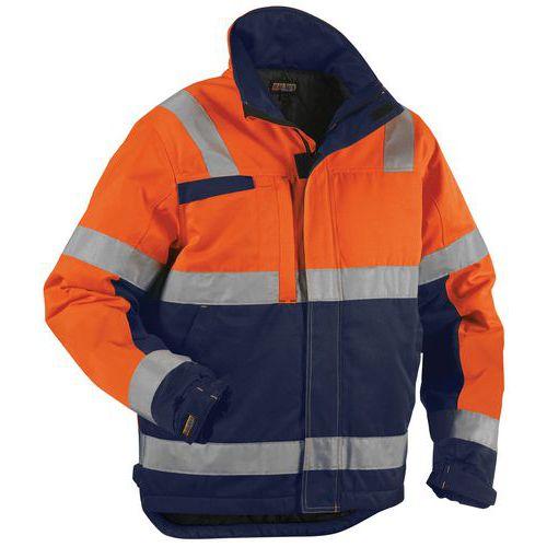 Veste hiver haute visibilité orange fluorescent/marine, résistant