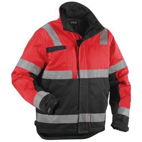Veste hiver haute visibilité rouge fluorescent/noir, résistant