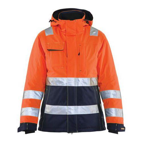 Veste hiver haute visibilité femme orange fluorescent/marine