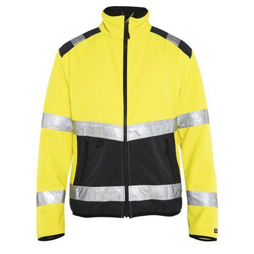 Veste softshell haute visibilité jaune fluorescent/noir, col haut
