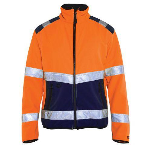 Veste softshell haute visibilité orange fluorescent/marine, col haut