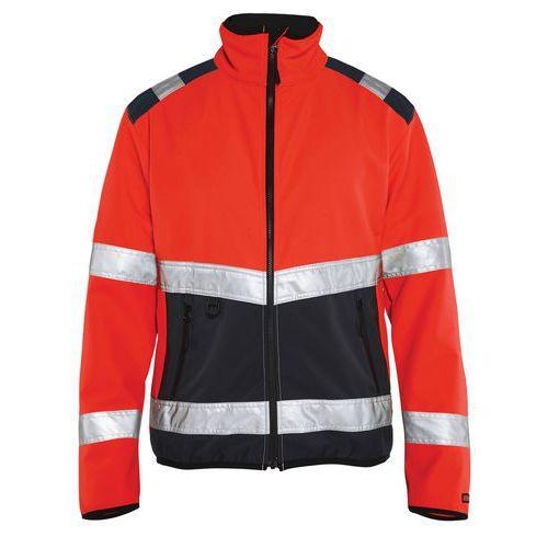 Veste softshell haute visibilité rouge fluorescent/noir, col haut