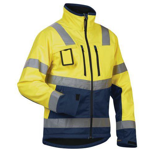 Veste softshell haute visibilité jaune fluorescent/marine étanche