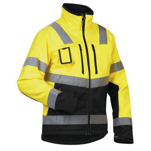 Veste softshell haute visibilité jaune fluorescent/noir étanche