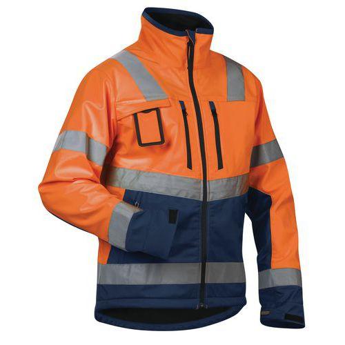 Veste softshell haute visibilité orange fluorescent/marine étanche