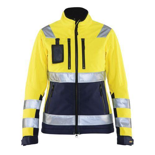 Veste softshell haute visibilité femme jaune fluorescent/marine