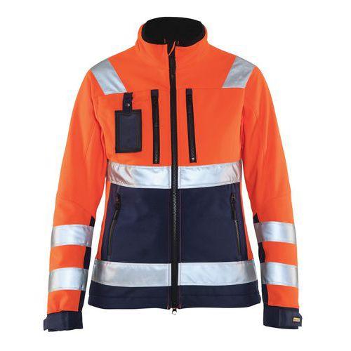 Veste softshell haute visibilité femme orange fluorescent/marine