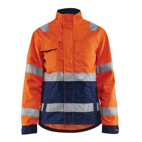 Veste haute visibilité femme orange fluorescent/marine