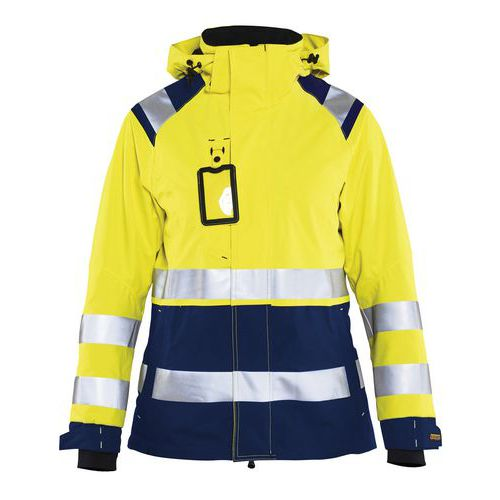 Veste hardshell imperméable haute visibilité femme jaune/marine