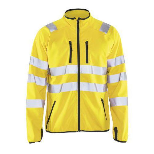 Veste softshell haute visibilité jaune fluorescent, col haut